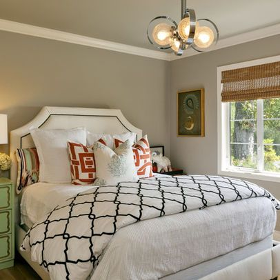 "Wall is Benjamin Moore ""Revere Pewter"" and graphic bedding"