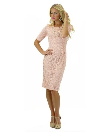 April - pink lace - knee length bridesmaid dress.