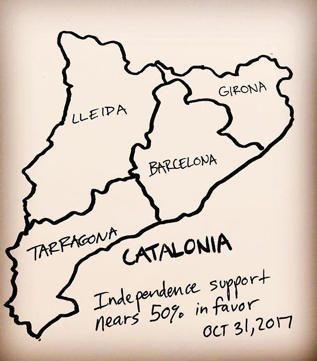 Independence support for Catalunya nears 50%. Do you think this is accurate? . . . . . . . . #catalunya #catalonia #spain #españa #barcelona #girona #lleida #tarragona #independencia #brexit #eu #europe #madrid #rajoy #news #currentevents #viscabarca #viscacatalunya #valencia #bondia #bonanit #map #maps #geography #infographic #art #artist #drawing #draw
