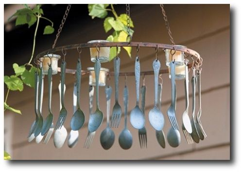 Farm to Fork chandelier for patio dinning.