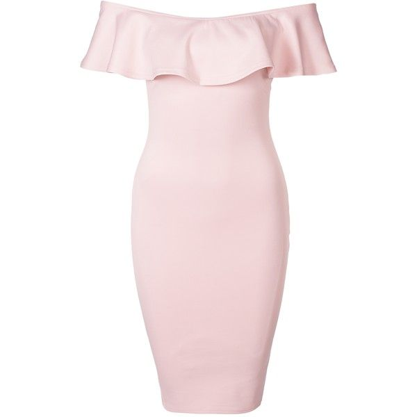 Off The Shoulder Frill Bodycon Midi Dress ($48) ❤ liked on Polyvore featuring dresses, pink dress, pink midi dress, off-the-shoulder dress, body con dresses and off shoulder cocktail dress