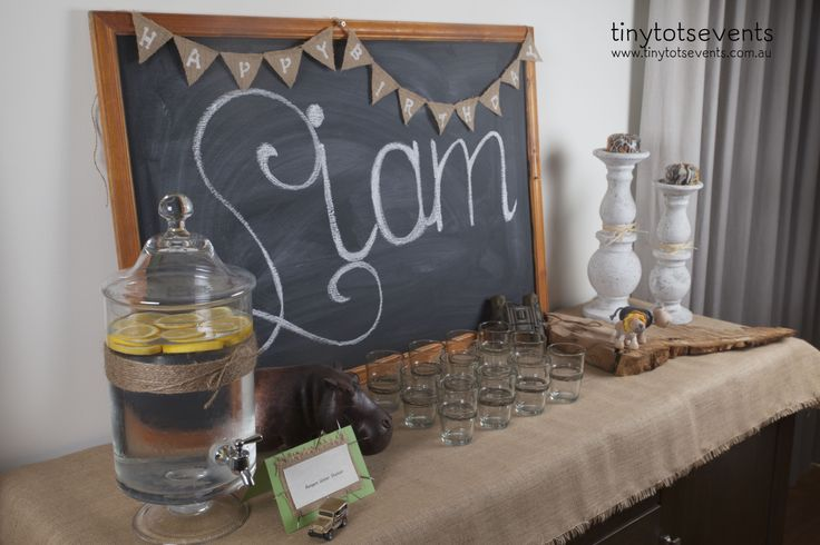 Safari birthday rangers drinks station - Tiny Tots Events - Melbourne's Little People Parties specialist