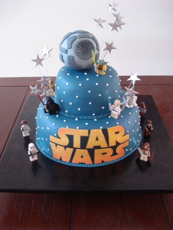 Keep the death star...some stars and the lego SW guys...add some star ships and make the bottom tier batman lego guys....Grooms cake DONE!