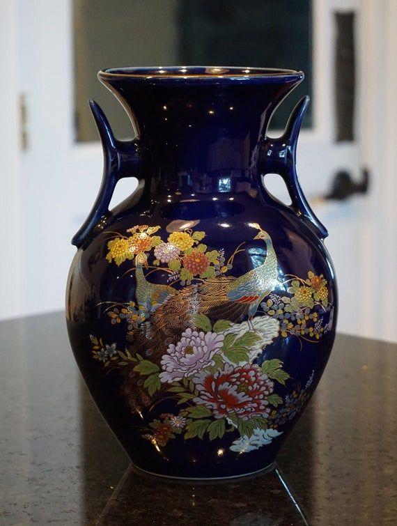 Vintage Cobalt Blue Double Handled Japanese Peacock Vase Etsy In 2020 Japanese Vase Vintage Chinoiserie Vase