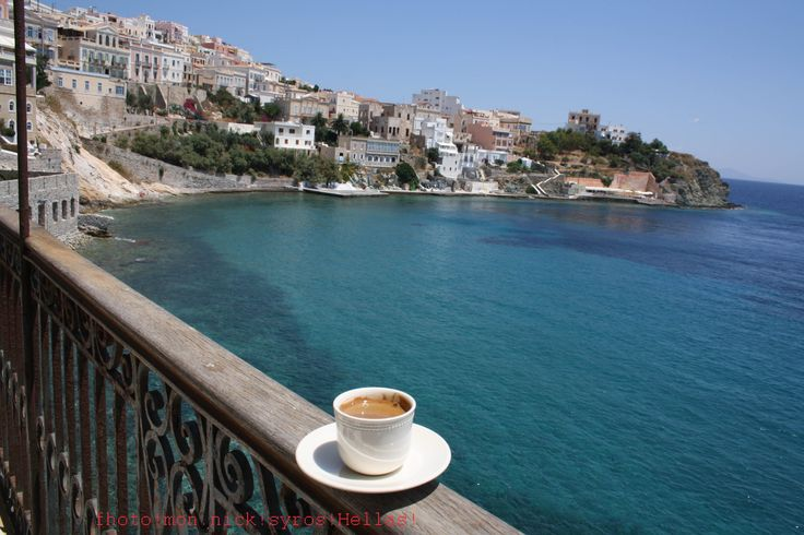 Syros Greece (I have enjoyed many a cup of coffee, with a view here!) Oh how the heart aches to return.