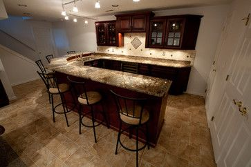 Basement Bar With Fire Bordeaux Granite - contemporary - basement - dc metro - Granite Grannies