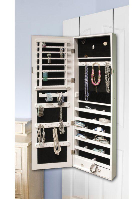 The Door Jewelry Armoire With Mirror, Over The Door Mirror With Jewelry Storage