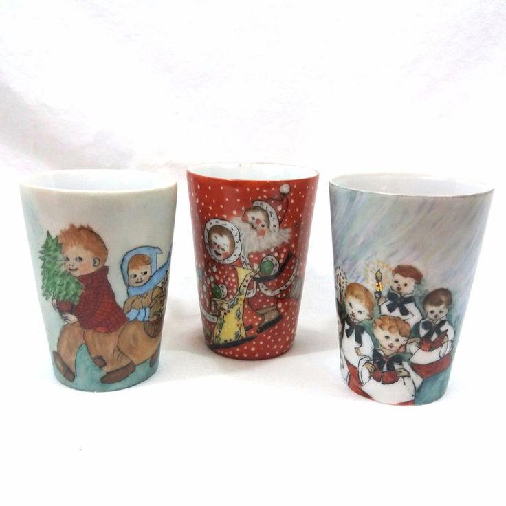 3 VTG Handpainted Christmas Mug Cup Wisconsin Scandinavian Artist Melda Straubel