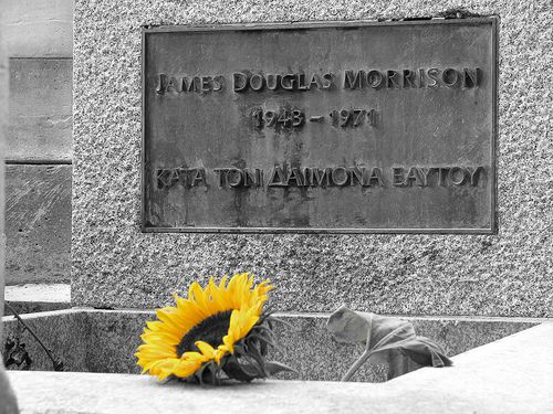 Jim Morrison's grave in Pere Lachaise cemetery