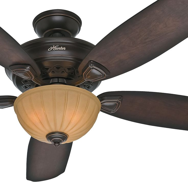 """Hunter Fan 56"""" Traditional Ceiling Fan in Onyx Bengal with Light Kit,5 Blade (Certified Refurbished)"""