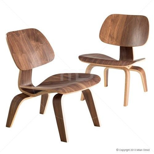 Set of 2 - Plywood Lounge Chair - Eames Reproduction - Walnut