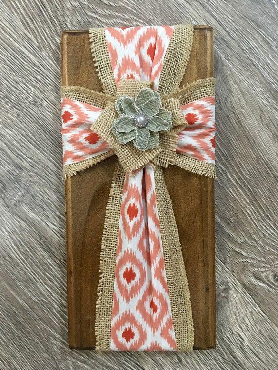Fabric cross on wood burlap cross on wood by SleepCreateRepeat