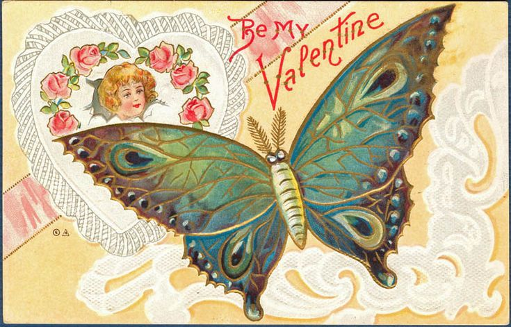 Vintage Valentine Beautiful Butterfly Amp Young Cupid