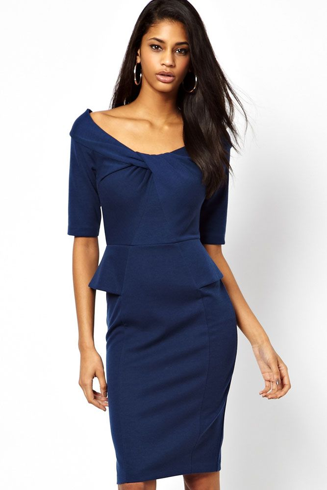 Blue Peplum Dress with Twist Detail