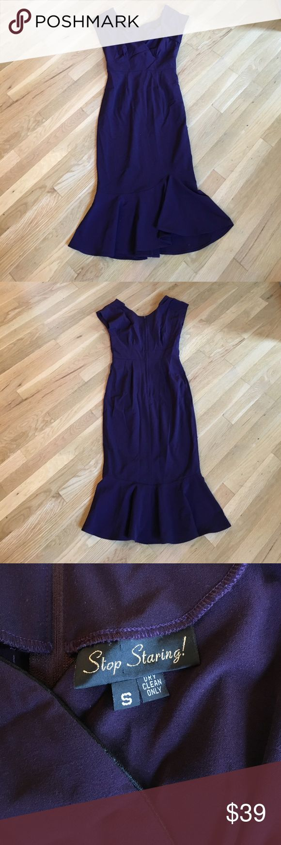 Stop staring plum colored dress size small Stop staring plum colored dress size small  63% poly, 33% rayon, 4% spandex, made in USA. Dry clean only. Used. Stop Staring Dresses