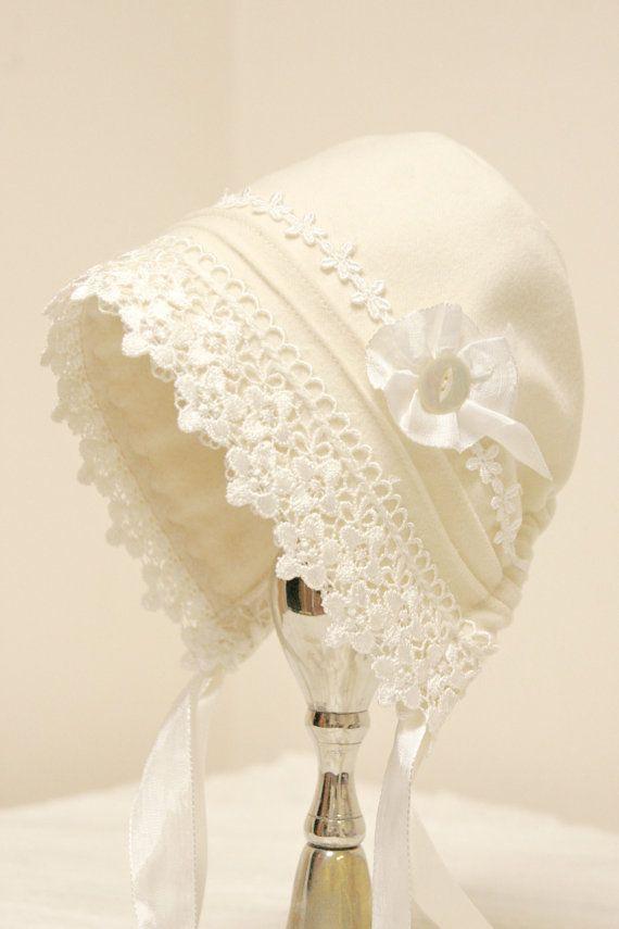 Winter Christening bonnet ~ Woolen Baby Bonnet ~ New England Easter bonnet -- warm baby hat, children's winter clothing, warm Easter bonnet
