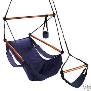 Amazon com blue camping air sky hanging chair with pillow outdoor