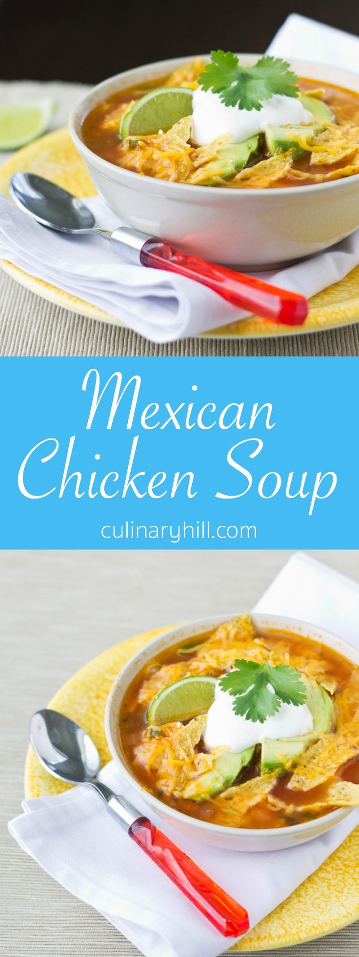 This easiest, tastiest Mexican Chicken Soup is made in your own kitchen! It's healthy, hearty, and ready in only 30 minutes.