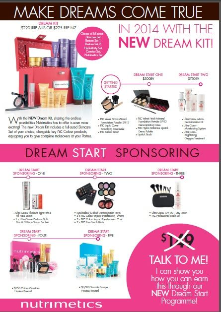 Need extra cash - Get started today & make your dreams come true in 2014. Open a Nutrimetics account - no upfront fees. Find out how to earn all this free. Cyndi Downie Nutrimetics Group Leader. Phone 0432488156 www.nutrimetics.com.au/Cyndi