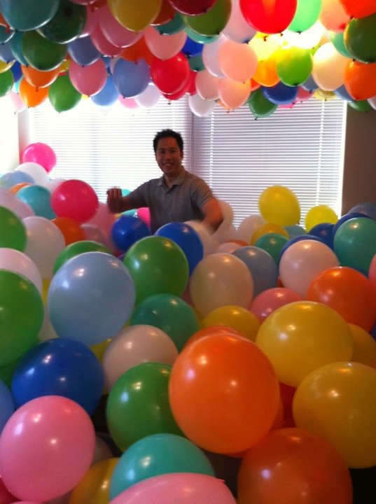 I feel like everyone would be happier if this happened to them. Lol You can't NOT smile at a room full of balloons!