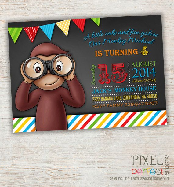 41 best Curious George Birthday Invitations Thank You Cards Party