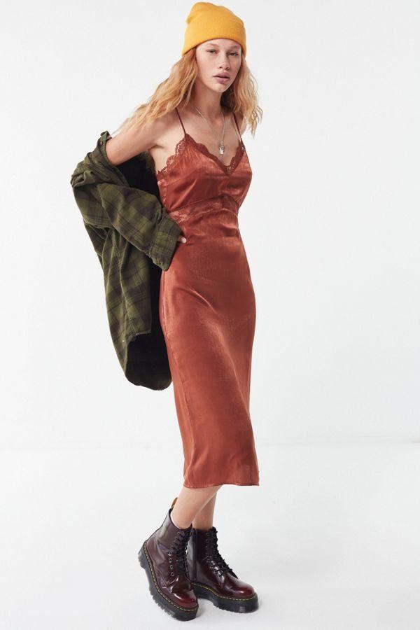 98e010fb2463 UO Satin Lace Trim Empire Waist Midi Dress | New Arrivals | Dresses ...
