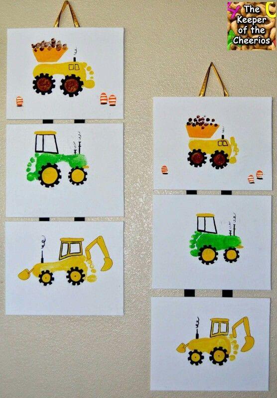 Children's footprint art, create construction vehicles from your kids footprint