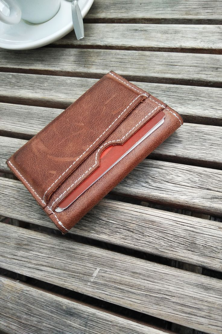 Cards and Coins Brown Leather Wallet. Minimal & Slim Men's Wallet for Cards and Coin. Great Christmas gift for dad, brother, husband, boyfriend and more