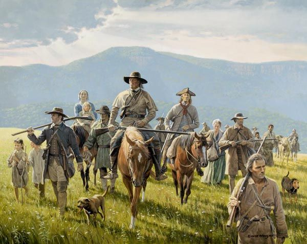 """Scots-Irish settling the American Frontier.  """"Whole families walked hundreds of miles, some of them using cows as pack animals.  These were uncommonly tough people, used to hardship.  They asked for nothing from the government or anyone else, and nothing is what they usually received.""""  (fm the book, """"Born Fighting"""" by Jim Webb) art by David Wright"""