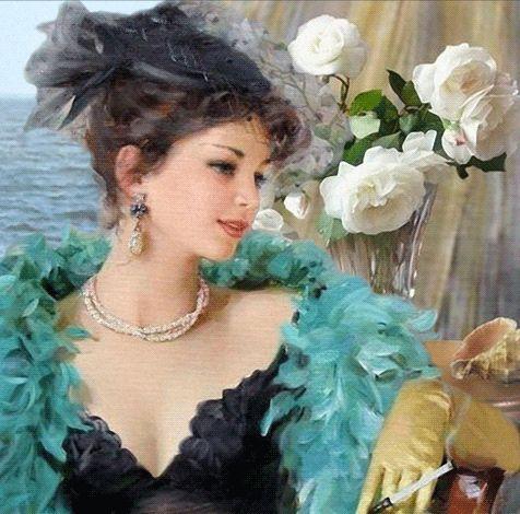 Анимация Морской ветер шевелит занавеску, лепестки белых роз, волосы, перья на боа девушки, сидящей на стуле и положившей руку в перчатке на спинку стула, с мундштуком