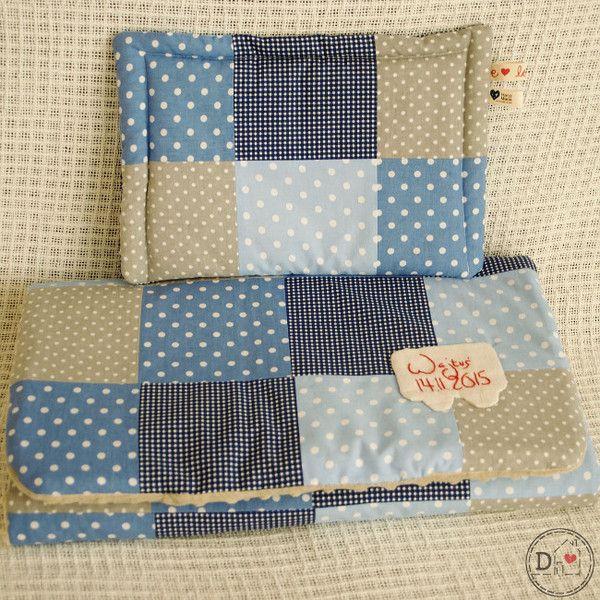 Kocyk z poduszką - patchwork dla chłopca - DominiDom - Kocyki dla niemowląt