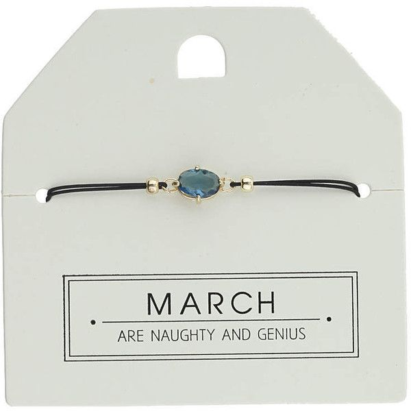 TOPSHOP March Birthstone Bracelet ($12) ❤ liked on Polyvore featuring jewelry, bracelets, blue, pandora bracelet, birthstone jewellery, blue bangles, topshop and cord bracelet