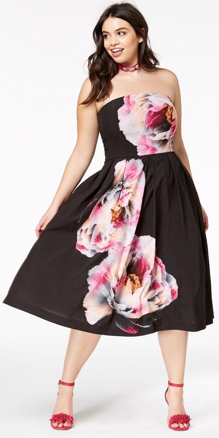 Plus Size Strapless Midi Dress | Plus Size Fashion | Strapless midi ...