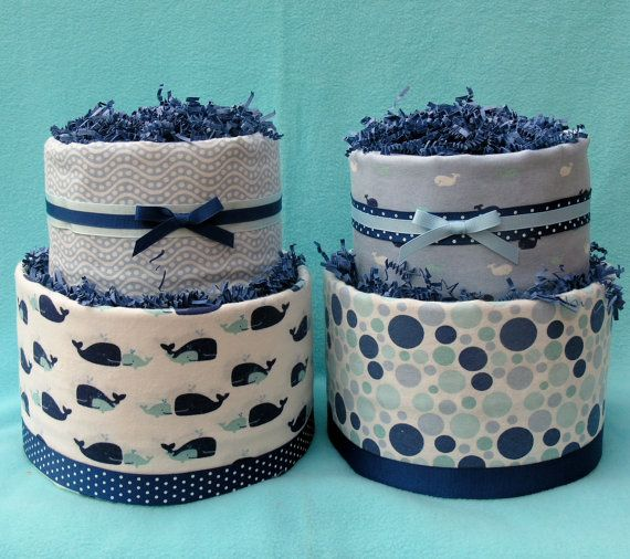 set of 2 baby boy 2tier diaper cakes nautical whale shower decorations or