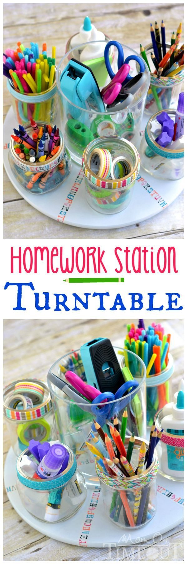 Homework time doesn't have to be a pain! This Homework Station Turntable keeps all homework supplies at your fingertips!   MomOnTimeout.com   #craft #school #MakeAmazing #ad