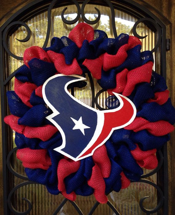 20 Houston Texans red and blue burlap wreath  by TexasTulleShop