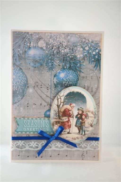 Kaisercraft Silver bells paper collection and matching collectables. The top card has a piece of 12 x 12 paper as the background, a collectable image and the greeting is from a piece of the 12 x 12...