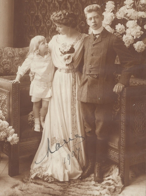 Marie with 2 of her sons, Prince Nicholas (left) and Prince Carol, later King Carol II.  At birth, Prince Nicholas was thought to be Barbu Stirbey's child, but as he grew up his blond, Hohenzollern looks proved he was the child of his mother's husband, King Ferdinand.