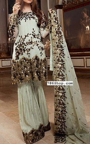 eb429f2d54 Light Sea Green Chiffon Suit | Buy Embroyal Pakistani Dresses and Clothing  online in USA, UK