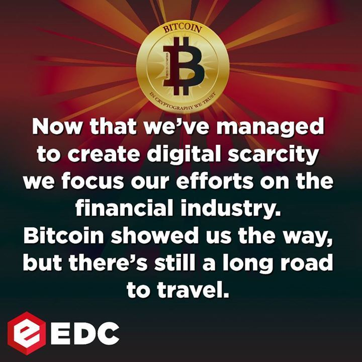 Now that we've managed to create digital scarcity we focus our efforts on the financial industry. Bitcoin showed us the way. But there's still a long road to travel.  Our ICO ico.equibit.org    #Bitcoin #CryptoCurrency #Securities #Trading