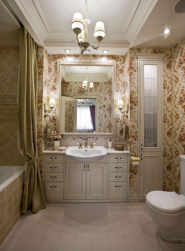 Обои для ванной комнаты: плюсы и минусы, виды, дизайн, 70 фото в интерьере-21