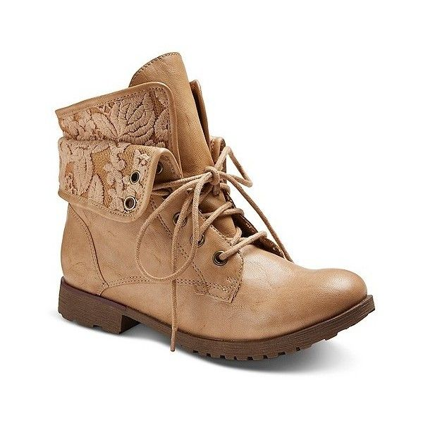 Women's Bobo Fashion Booties - Light Tan , Lt Tan ($40) ❤ liked on Polyvore featuring shoes, boots, ankle booties, lt tan, tan military boots, army combat boots, leather boots, leather lace up booties and leather booties