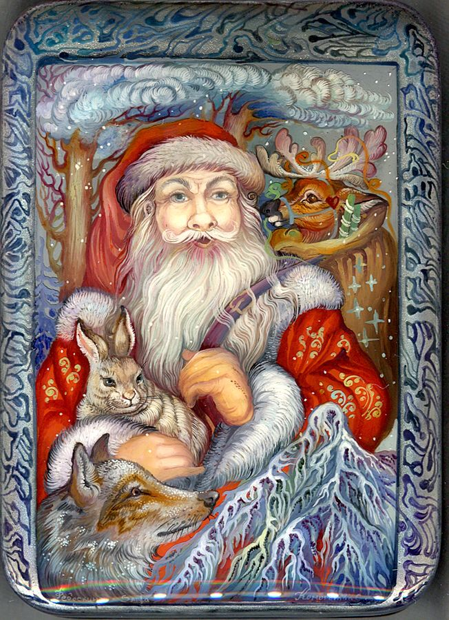 """Santa"" Lacquer Art By Svetlana Komogorova ( Fediskino )"