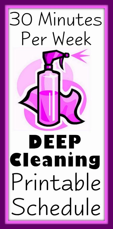 30 Minutes Per Week House Cleaning Schedule. Deep cleaning schedule to keep