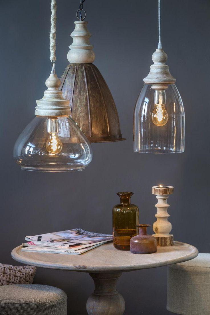 Hanglamp Sade - Glas - Hout - Helder - Pendel - 28 cm - Light & Living