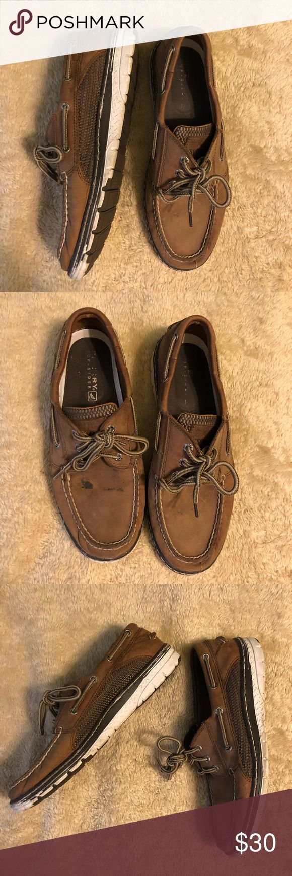 Sperry Top Siders Men's Sperry Top Siders, fairly worn as shown in pictures and reflected in the price. I have not tried to wash them though so the mark on the top of the shoe may be able to come off! Sperry Top-Sider Shoes Boat Shoes