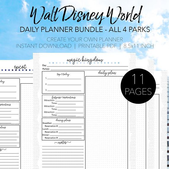 Disney World Daily Planner Bundle - Discover 11 pages of daily planners for every theme park at Disney World. You'll love space to record the touring plan, FastPass+ reservations, and dining reservations. Carry these daily planners with you in the parks to remind your party of what the plan is for that day. Keep all the important details in one place with this Disney Itinerary and Disney Agenda. Create Your Own Walt Disney World Planner - Dream Plan Fly