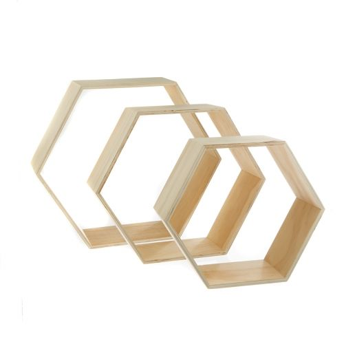 3 tag res hexagonales 25 30 et 35 cm shopping for Decoration murale hexagonale