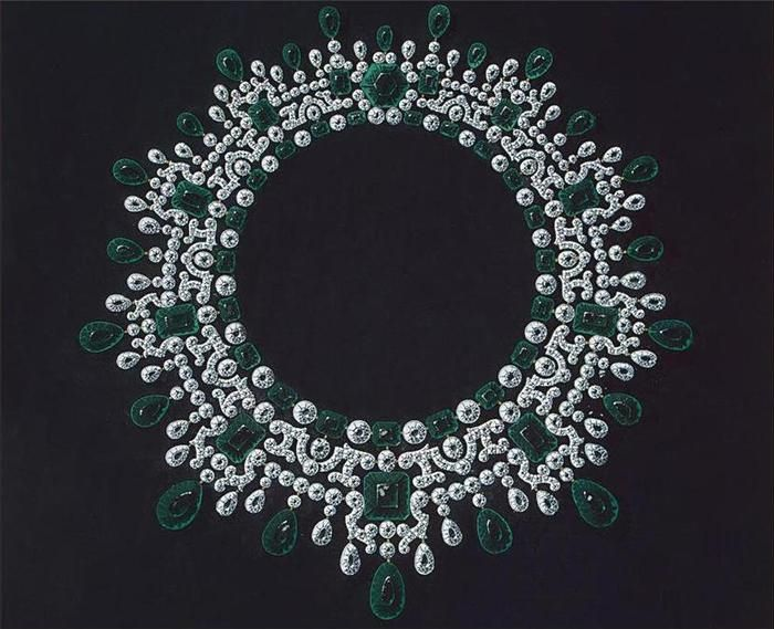 Design of the emerald and diamond necklace of Maria, wife to Russian Emperor Alexander III, ca 1900