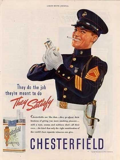 """Chesterfield Cigarettes Ad """"They Do the Job they're meant to do"""""""